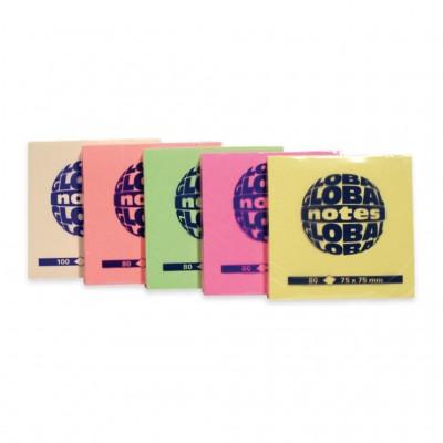 Αυτοκόλλητα Χαρτάκια Σημειώσεων Global Notes Κίτρινο Φωσφοριζέ 80 Φύλλων, 75x75mm